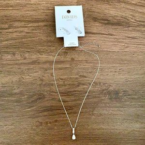 NWT David's Bridal Silver Necklace and Earrings